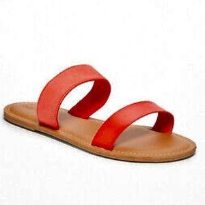 Orange double Strap Sandal Flat